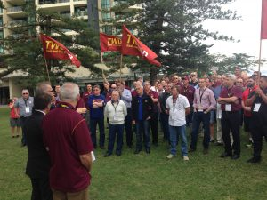TWU members stand together on the Gold Coast for Fatality Free Friday